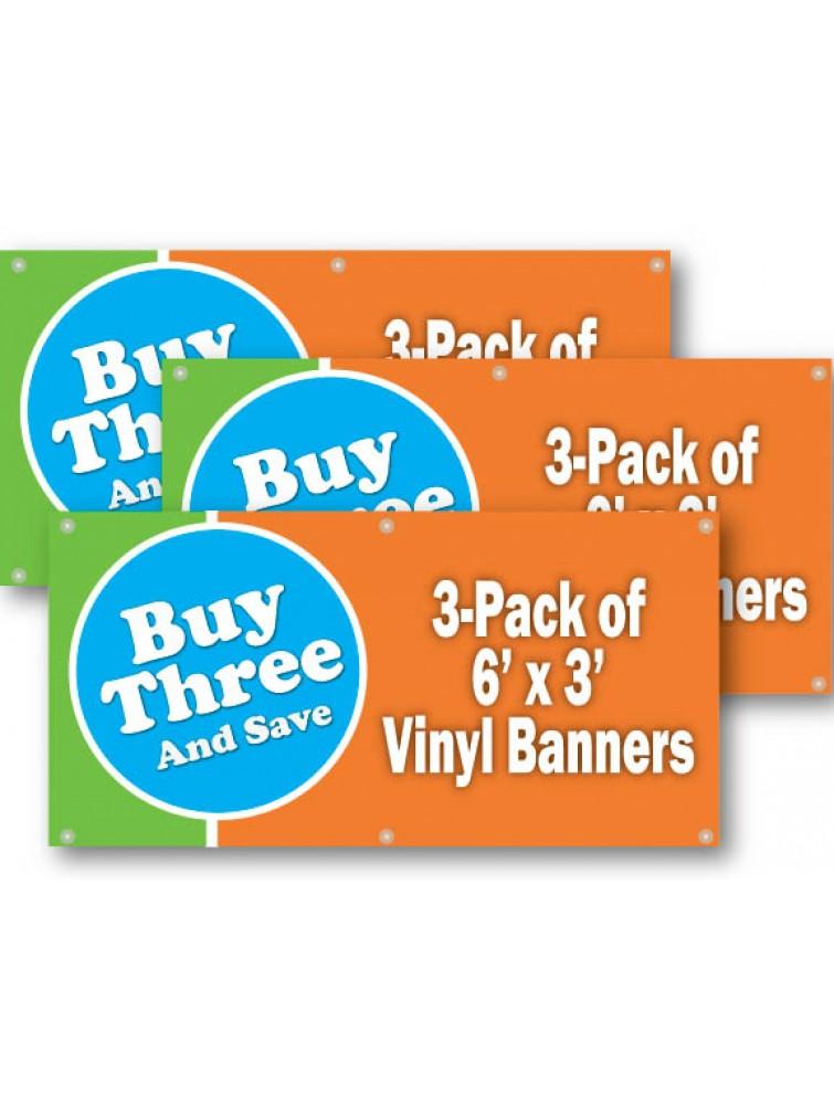 Economy 3 Pack Of 3ft X 6ft Vinyl Banners